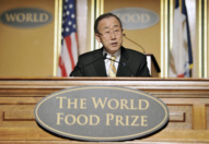 Secretary-General Ban Ki-moon delivers keynote address at the 2012 World Food Prize laureate award ceremony.
