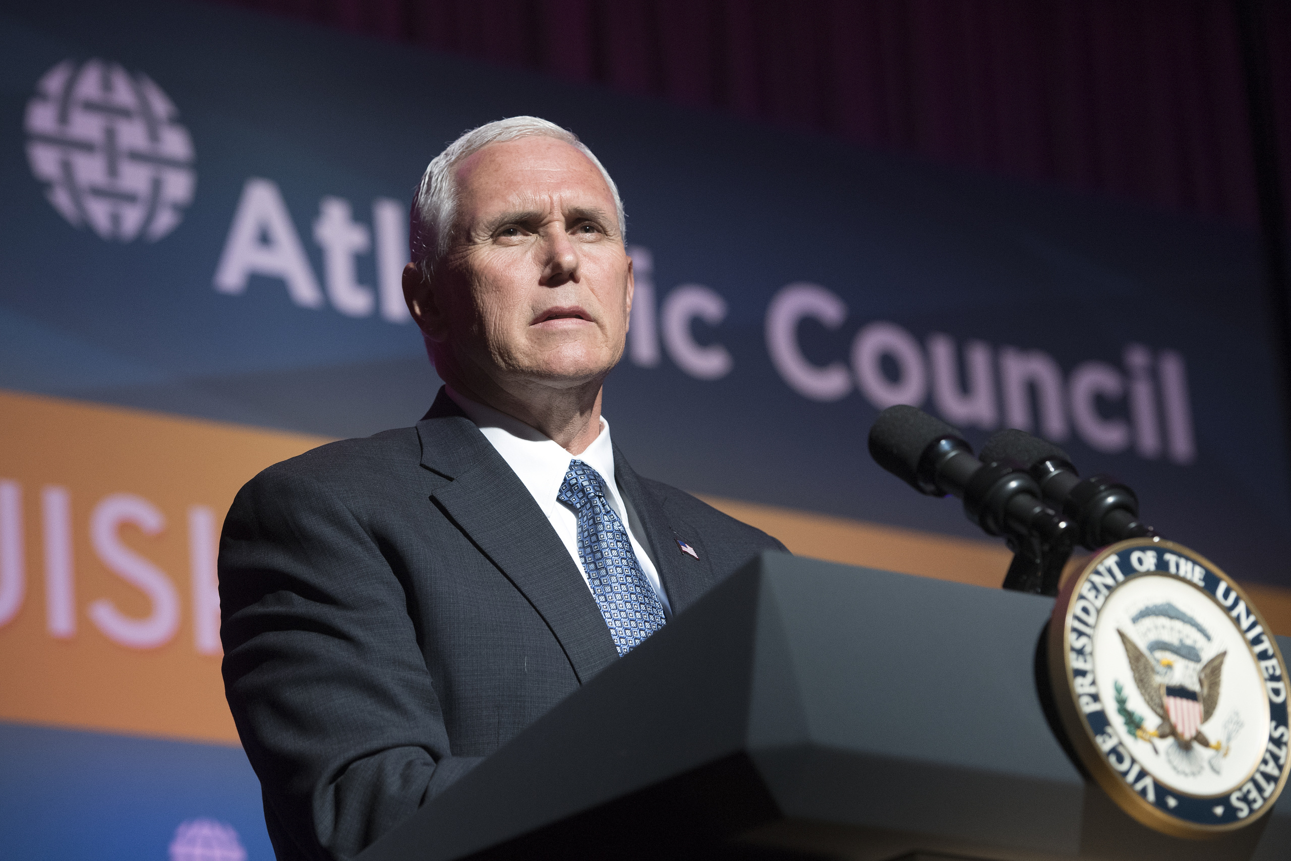 Vice President of the United States of America, is pictured during his speech at the Atlantic Council 2017.
