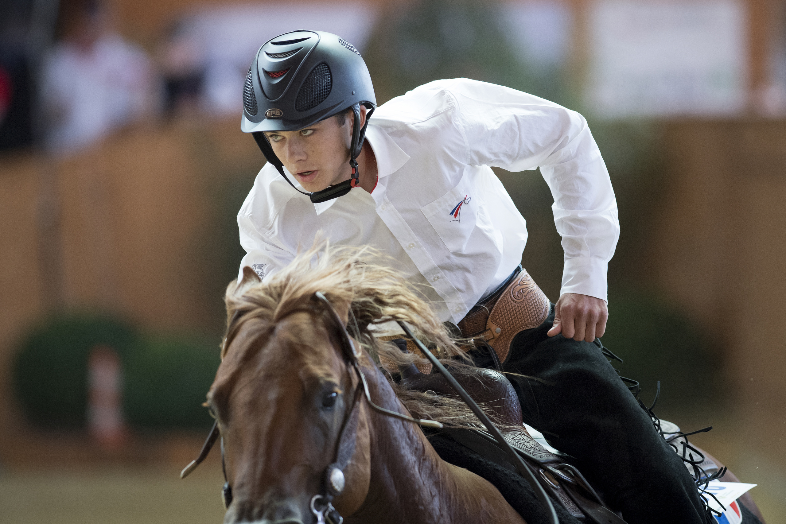 SVAG FEI World Reining Junior Riders Individual Final Competition. FRA Axel PESEK Horse UNCLE SPARKY