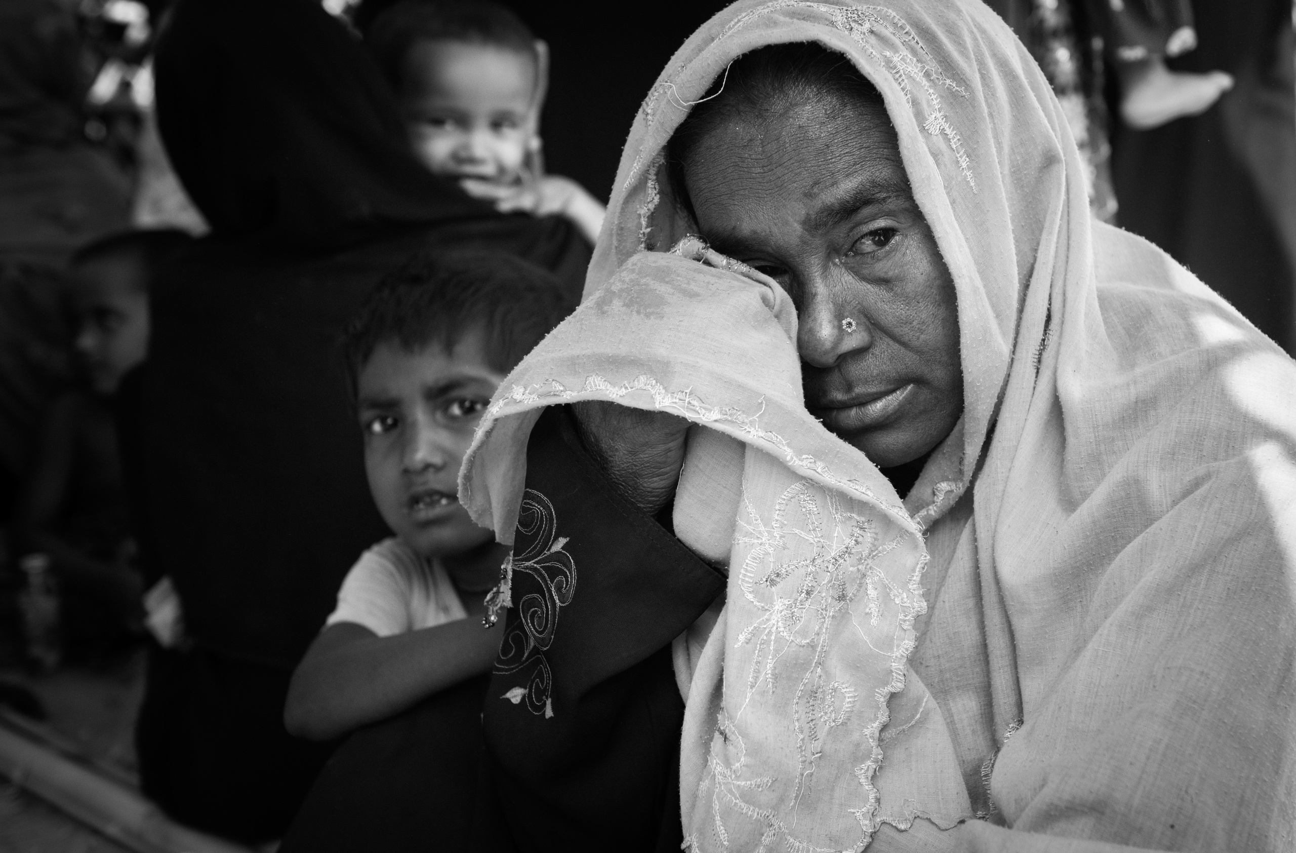 Bangladesh, Cox's Bazaar. Newly arrived Rohingya refugees waiting for food aid at Kutupalong camp on April 16, 2018 .Over 650,000 Rohingya have crossed the border to Bangladesh since August last year, fleeing the violence.