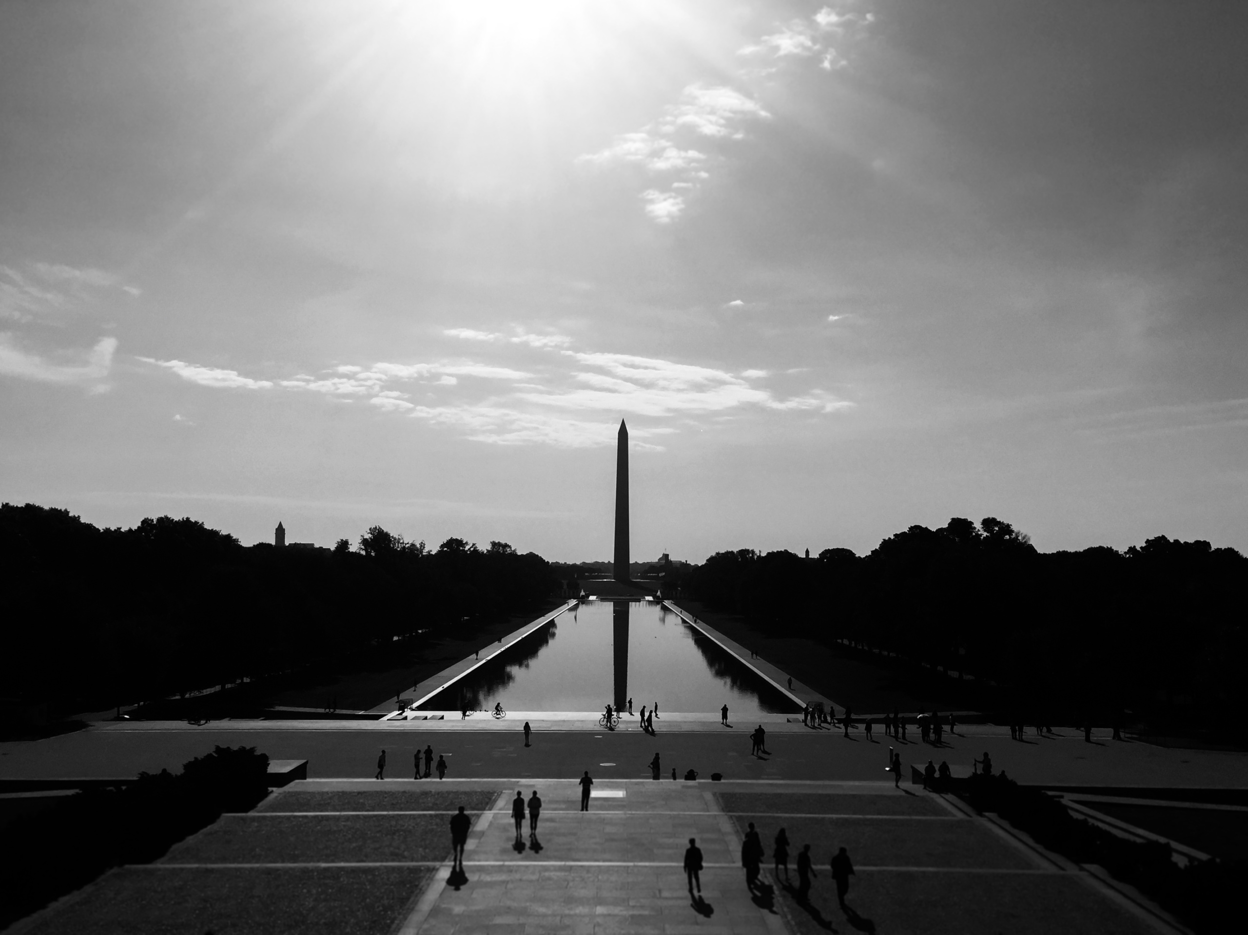 Washington, USA. Washington Monument taken from Lincoln Memorial in Washington DC