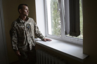 In a refugee center in Kiev. Maxime 28 years staring into space. He was tortured several weeks.He suffers from psychological disorders. The fight between pro-Ukrainian troops and pro-Russian separatists is continuing in the Donbas region of eastern Ukraine despite the recent Minsk ceasefire agreements.
