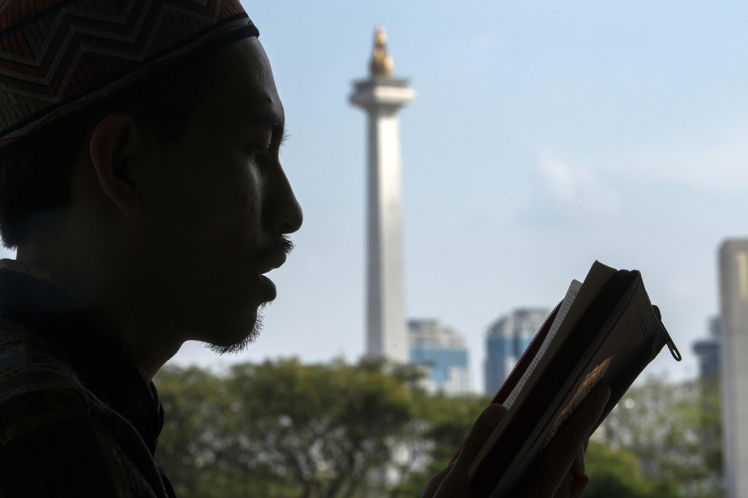 Jakarta, Indonesia. A man prayers on the day of the holy fasting month of Ramadan at Mosque.