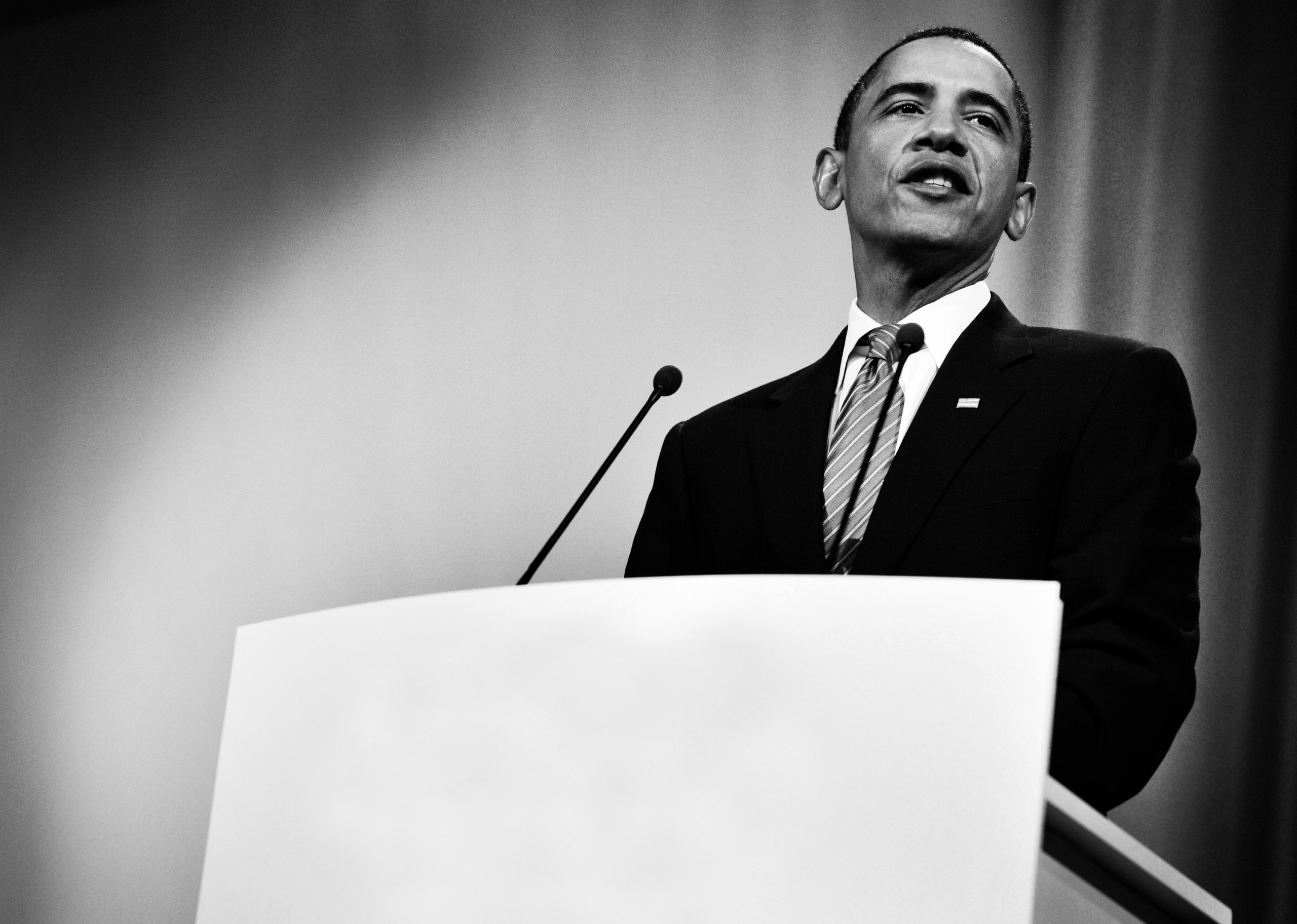 US President Barack Obama speaks during a plenary session at the Bella Center in Copenhagen on December 18, 2009 on the 12th day of the COP15 UN Climate Change Conference.