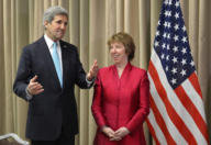 U.S. Secretary of State John Kerry ( L) speaks alongside European Union High Representative Catherine Ashton (R) during a press conference in Geneva on April 17, 2014, after a day of quadrilateral talks between representatives of Ukraine, the European Union, Russia, and the United States about the Ukrainian political crisis. Russia, Ukraine, the US and EU reached a surprise deal today on de-escalating the worsening crisis in Ukraine, in a ray of hope for the former Soviet republic that has plunged into chaos. The agreement reached in Geneva comes as a strong contrast to earlier hawkish comments made by Russian leader Vladimir Putin, who left the door open for intervention in Ukraine. AFP /UE/Richard Juilliart