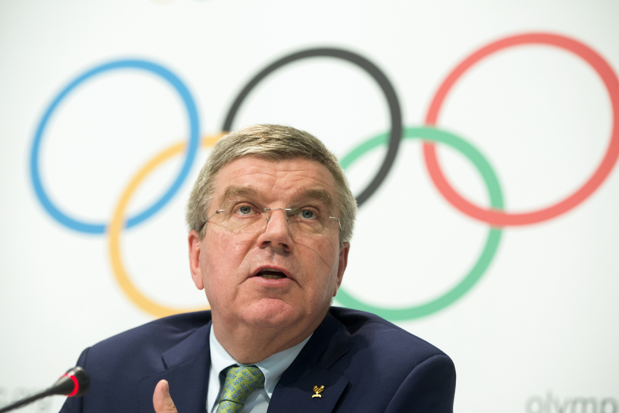 Lausanne, Switzerland The President of the International Olympic Committee (IOC) Thomas Bach speaks to the media at the end of an IOC Executive Board meeting in Lausanne, on June 8 2015. Bach said on June 8 that scandal-plagued FIFA needs 'painful' but necessary reform. AFP PHOTO / RICHARD JUILLIART (Photo credit should read Richard Juilliart/AFP/Getty Images)