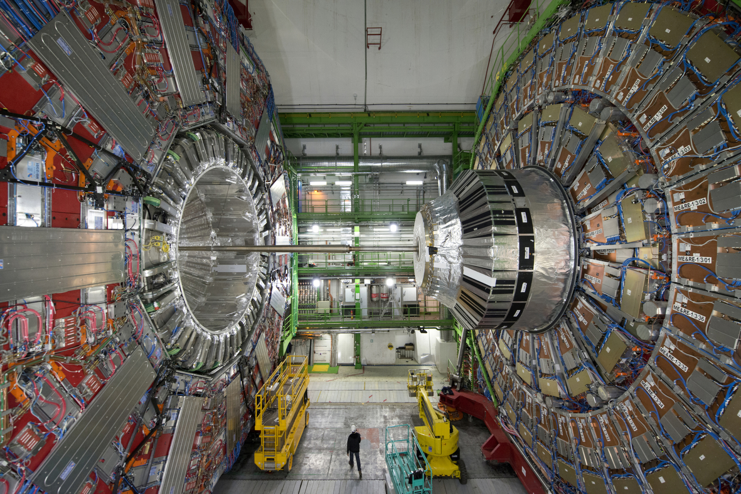 Geneva, Switzerland. A picture taken on February 10, 2015 in Meyrin, near Geneva, shows the CMS (Compact Muon Solenoid) Cavern at the European Organisation for Nuclear Research (CERN). Excitement is mounting at the world's largest proton smasher, where scientists are close to launching a superpowered hunt for particles that may change our understanding of the Universe. Physicists and engineers are running the final checks on an upgrade that nearly doubled the muscle of the Large Hadron Collider (LHC), which in 2012 unlocked the putative Higgs boson and, with it, a Nobel Prize. The two-year power boost will take experiments into a previously-inaccessible realm that resembles science fiction. AFP PHOTO / RICHARD JUILLIART (Photo credit should read Richard Juilliart/AFP/Getty Images)